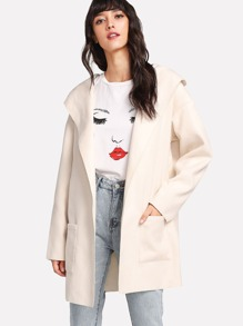 Pocket Patched Drop Shoulder Hoodie Coat