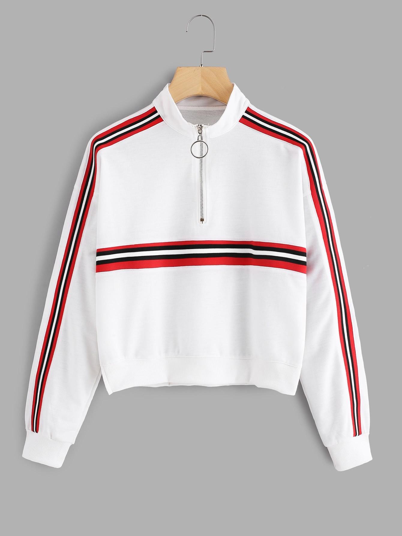 Striped Panel Zip Neck Sweatshirt