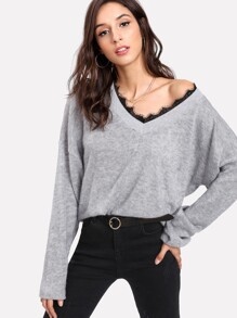 Contrast Eyelash Lace Marled Knit Jumper