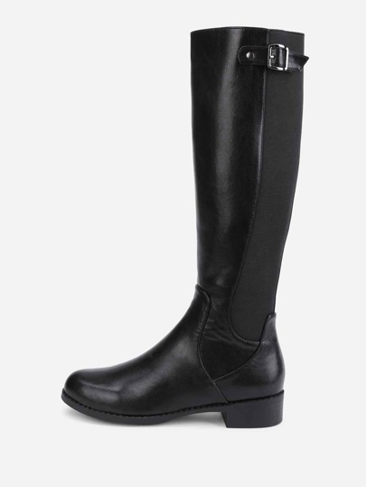 Side Zipper Knee High PU Boots