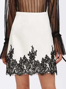 Eyelash Lace Applique Hem Skirt