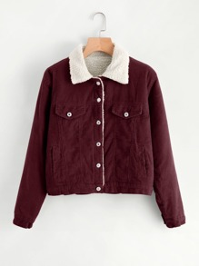 Corduroy Contrast Faux Shearling Jacket