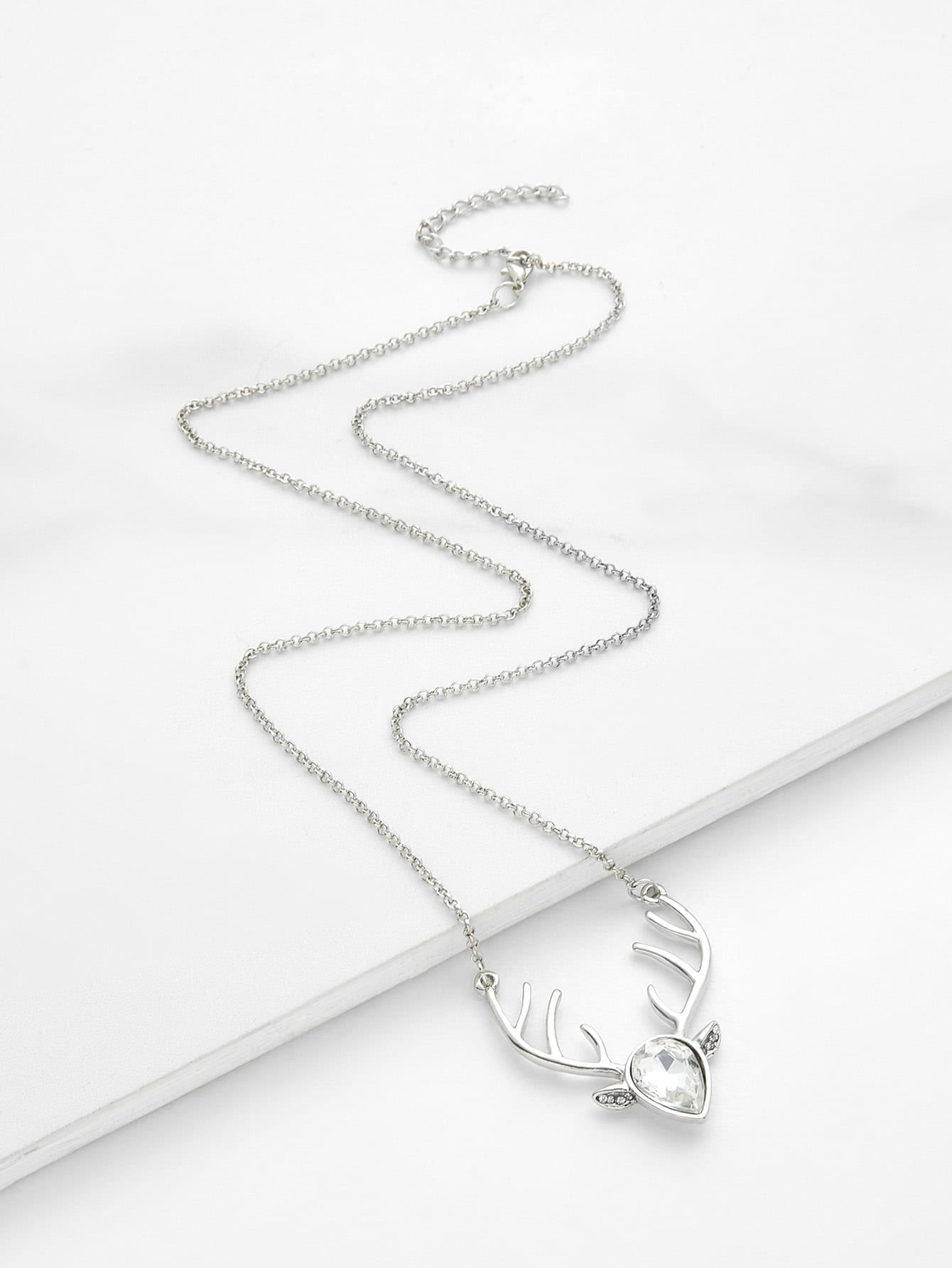 Water Drop Crystal & Antler Pendant Chain Necklace round drop chain necklace