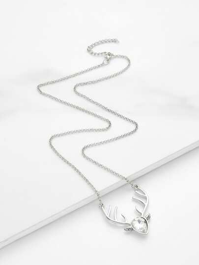 Water Drop Crystal & Antler Pendant Chain Necklace