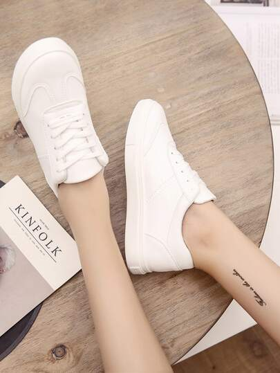 Romwe / Lace Up Round Toe PU Sneakers