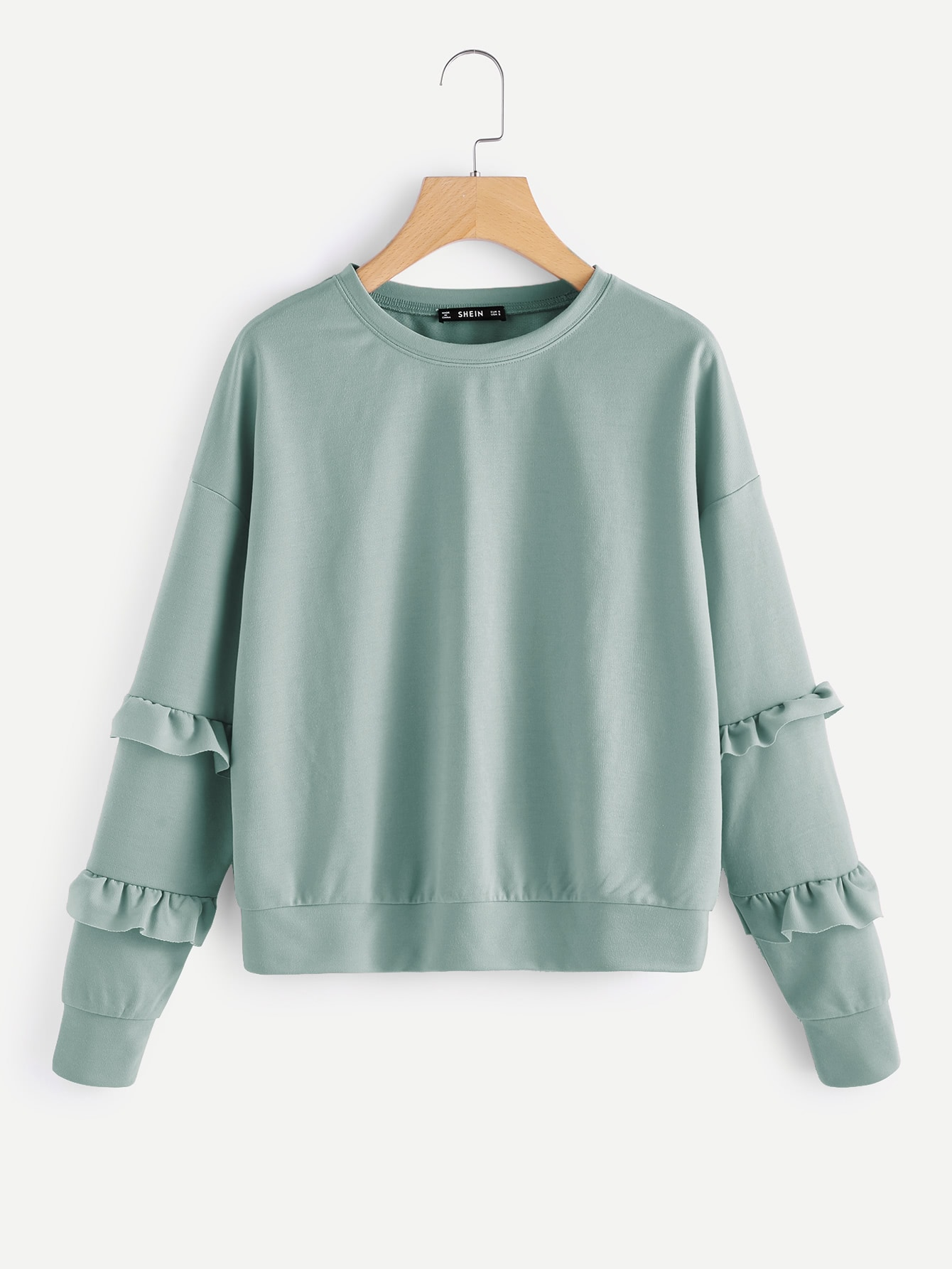 Drop Shoulder Ruffle Sleeve Sweatshirt drop shoulder grommet tie detail sweatshirt