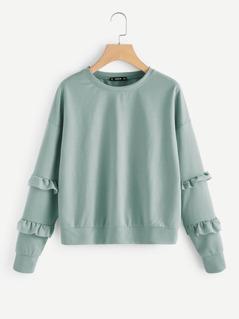 Drop Shoulder Ruffle Sleeve Sweatshirt