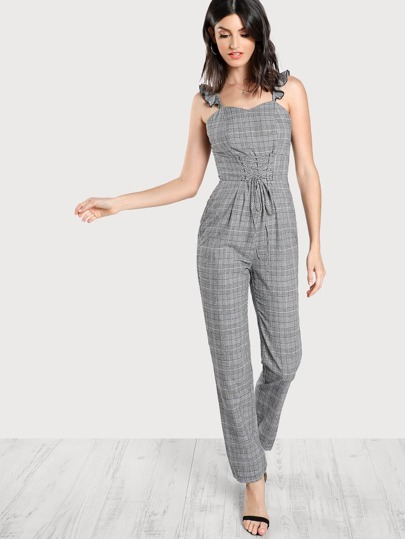 Frilled Strap Plaid Tailored Jumpsuit