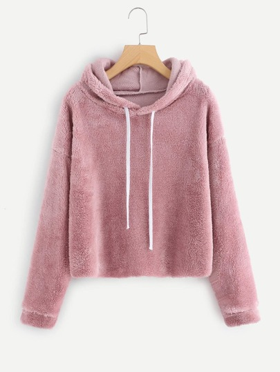 Drop Shoulder Faux Fur Hoodie