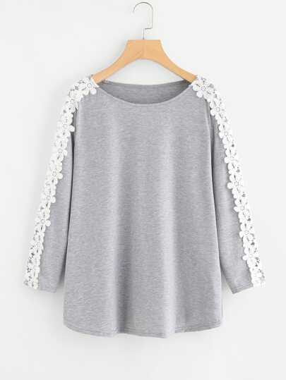 Contrast Crochet Appliques Marled Tee