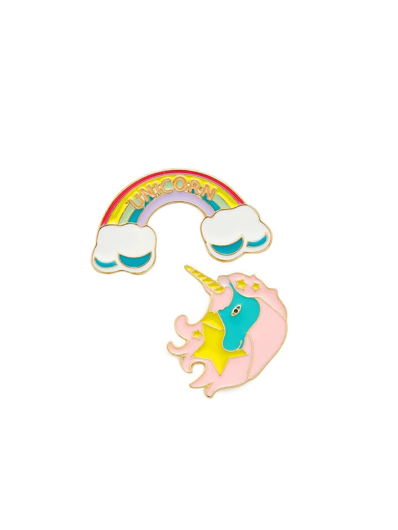 Rainbow & Unicorn Design Brooch Set pineapple rainbow watermelon glasses brooch set