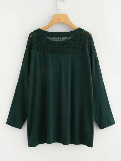 Lace Panel Dolman Sleeve T-shirt