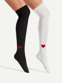 Heart Pattern Over The Knee Socks 2pairs