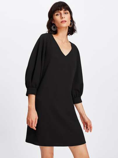 Lantern Sleeve Tunic Dress