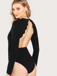 Scalloped Open Back Bodysuit
