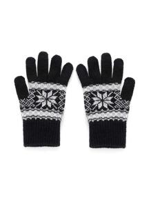 Gants de Noël tricoté géométrie