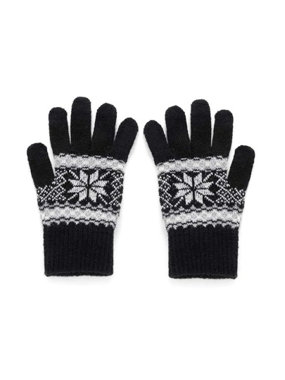 Christmas Geometric Pattern Knit Gloves