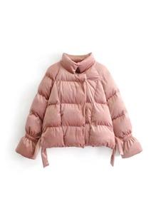 Raglan Sleeve Velvet Padded Coat
