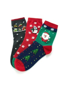 Christmas Snowflake & Penguin Pattern Socks 3pairs