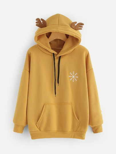 Elk Ear Hooded Slogan Embroidered Sweatshirt