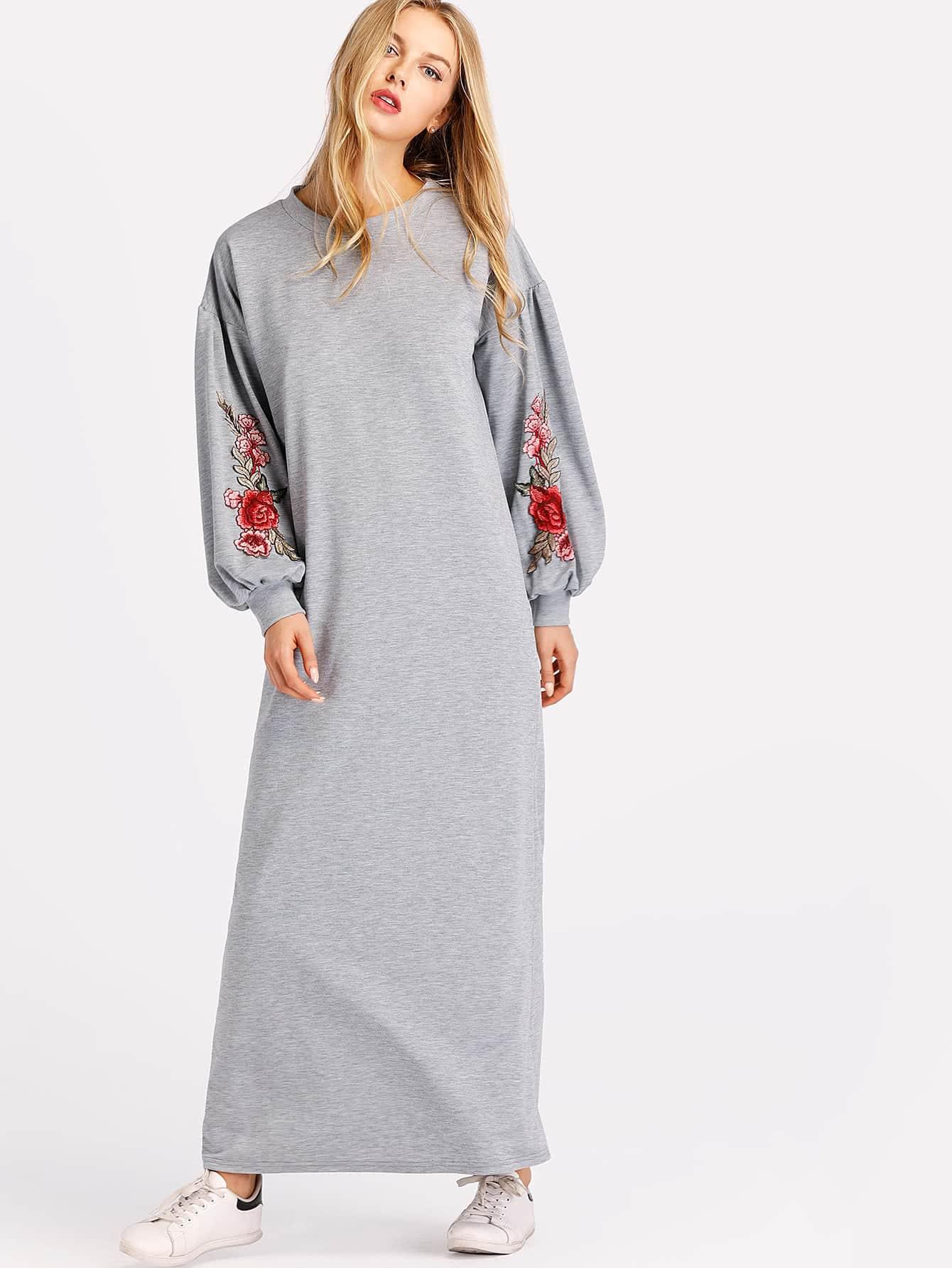 Balloon Sleeve Marled Sweatshirt Dress drop shoulder marled sweatshirt dress with corset belt