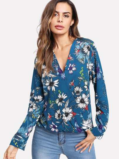 Lace Insert Surplice Botanical Top