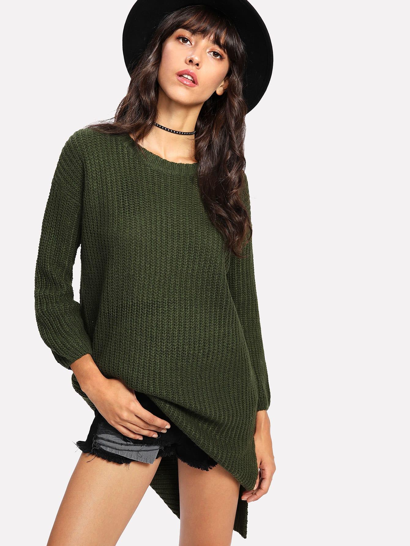 Asymmetrischer Langer Pullover mit Seitenschlitz