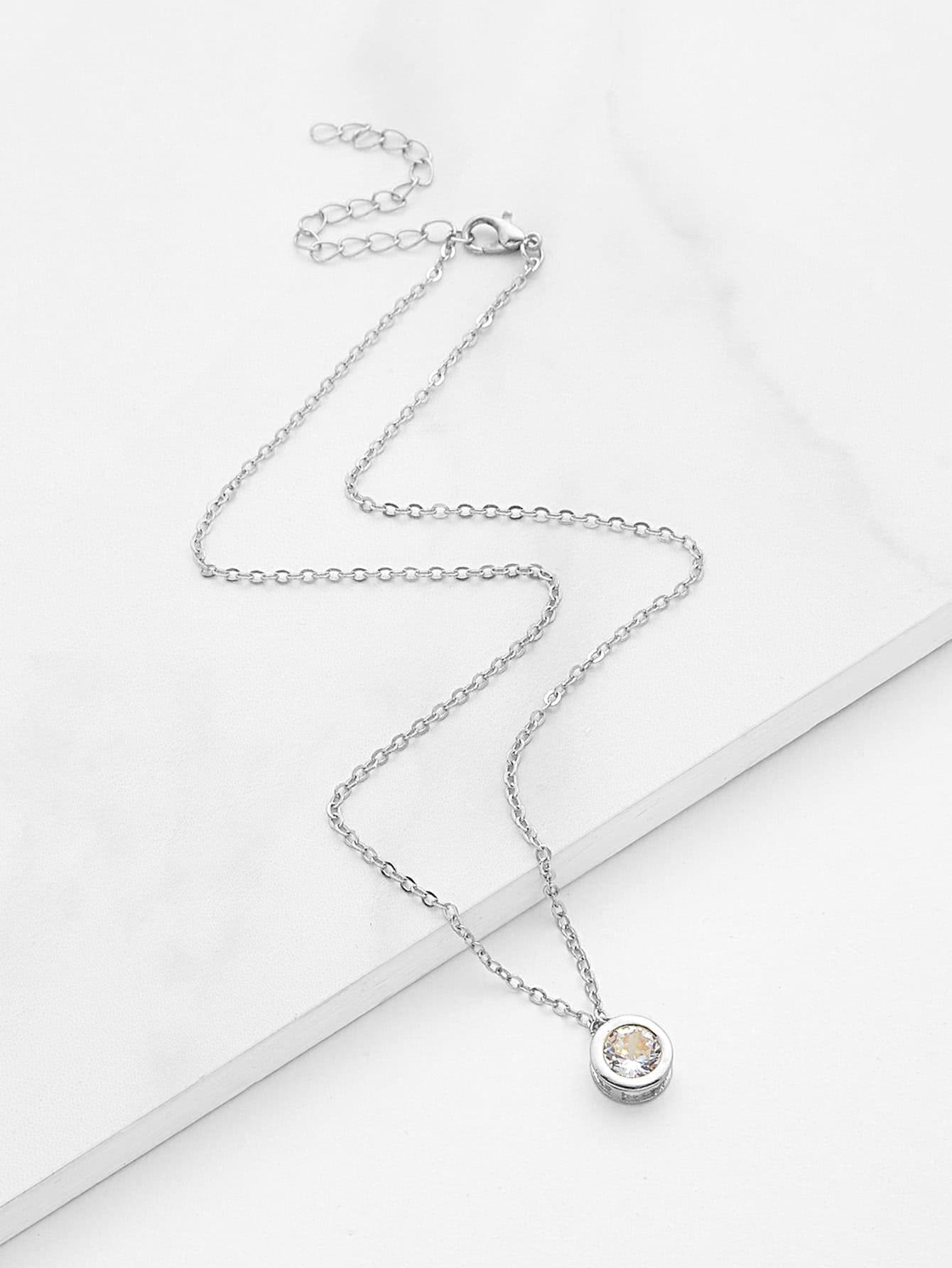 Gemstone Round Pendant Chain Necklace