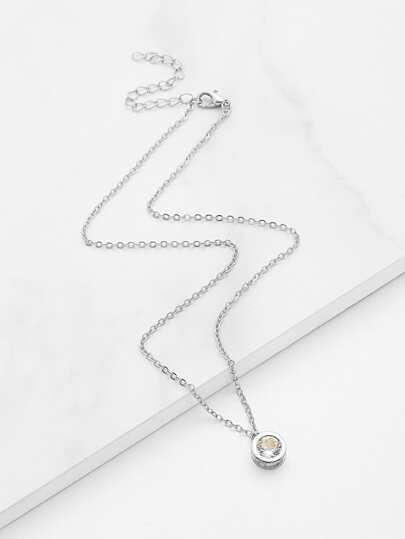 Gemstone Round Pendant Chain Necklace