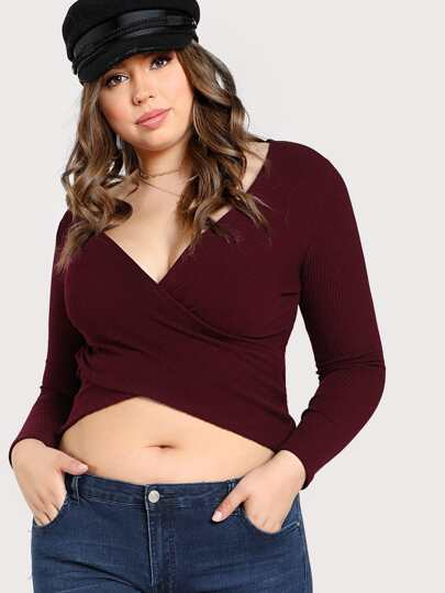 Cross Front Ribbed Long Sleeve Top BURGUNDY