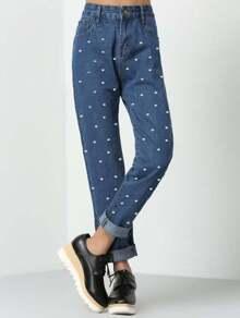 Dots Print Straight Jeans