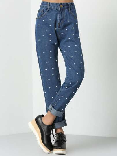 Dots Print Straight Jeans