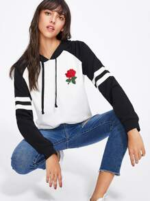 Embroidered Rose Patch Varsity Hoodie