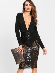 Plunging Sequin Mesh Bodysuit Dress