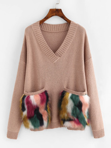 Faux Fur Pocket Patched Drop Shoulder Jumper