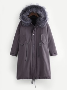 Faux Fur Trim Drawstring Hem Coat