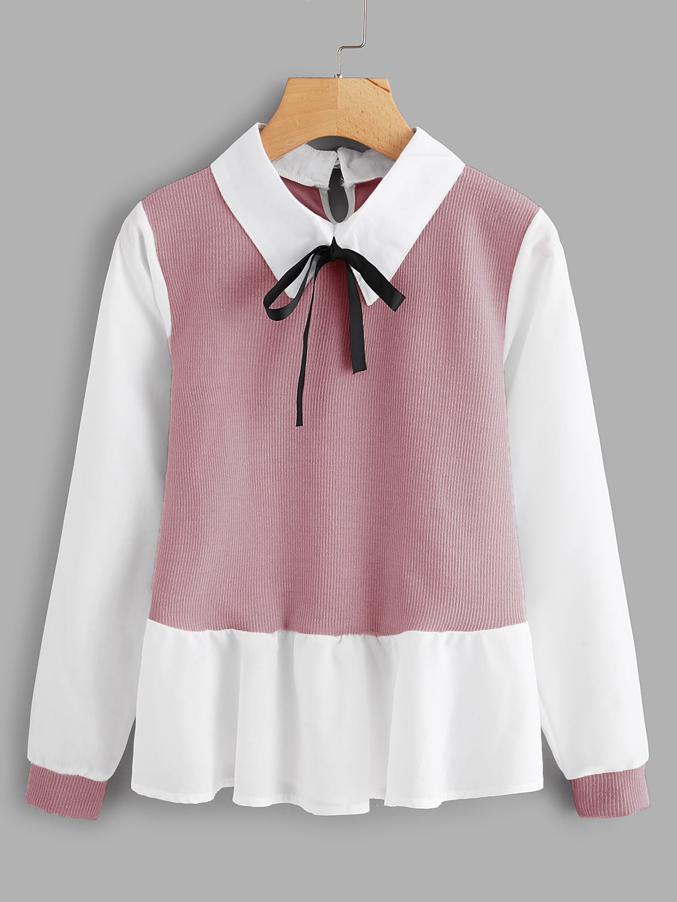 Ruffle Contrast Bow Tie Neck Blouse sony fdr ax33b
