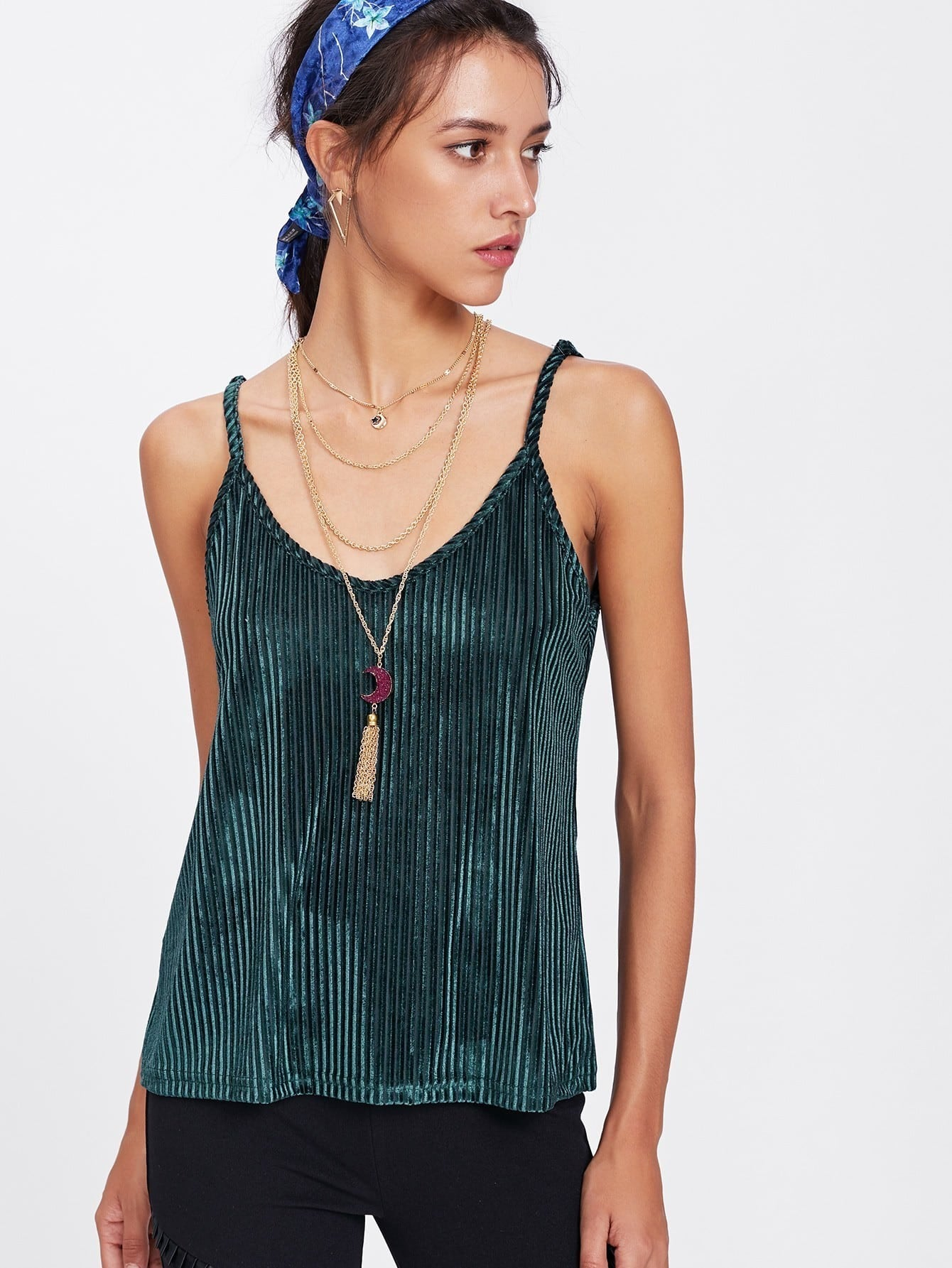 Ribbed Velvet Cami Top solid ribbed cami top