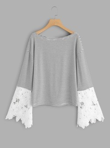Contrast Scallop Lace Sleeve Striped Tee
