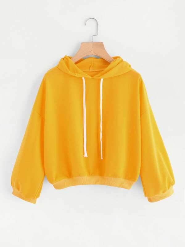 Drop Shoulder Hooded Drawstring Sweatshirt drop shoulder frill hem batwing sweatshirt
