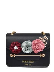 حقيبة اليد بالون الاسود مطرزة بالؤلؤة والزهور
