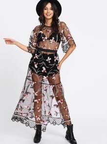 Split Scalloped Laser Cut Trim Embroidery Mesh Dress
