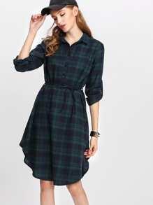 Tartan Plaid Curved Hem Shirt Dress