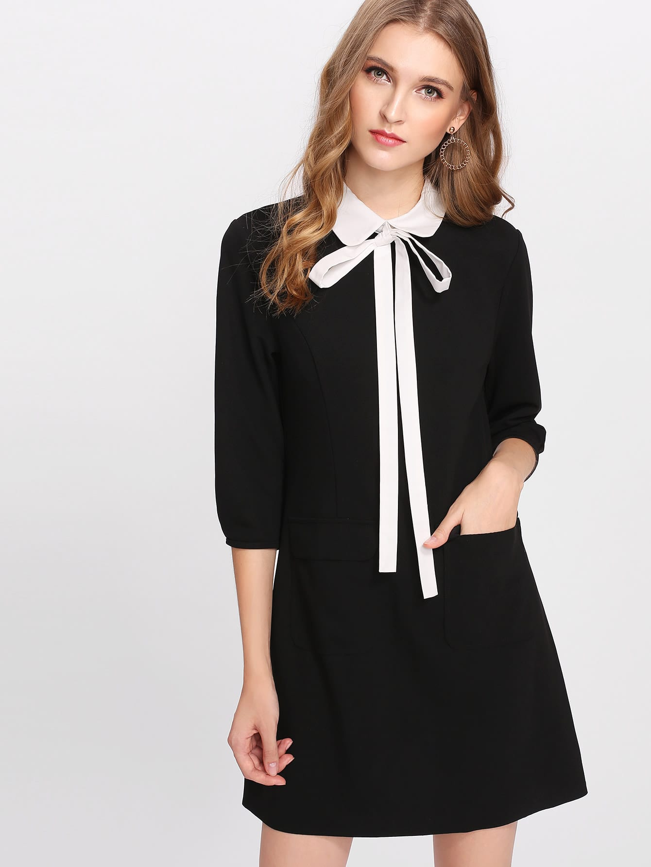 Contrast Tied Collar Pocket Detail Dress contrast collar bow tied detail striped dress