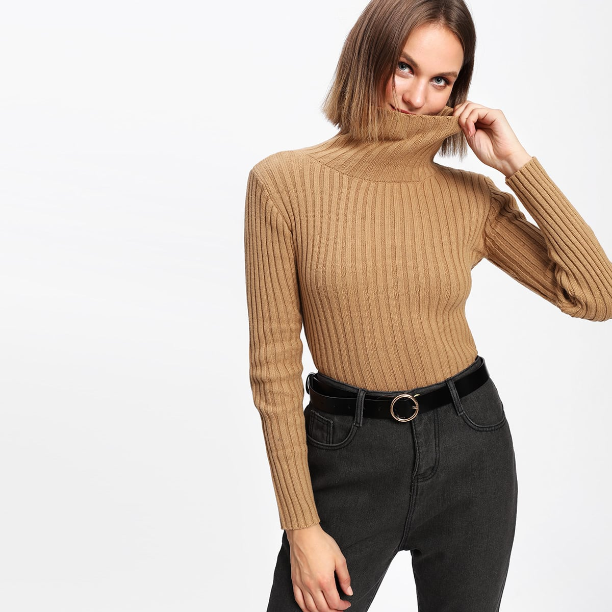 Ribbed sweater met col