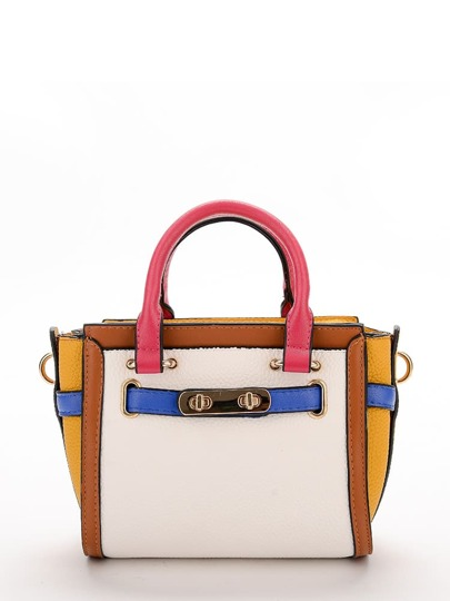 Colorblock PU Winged Tote Bag