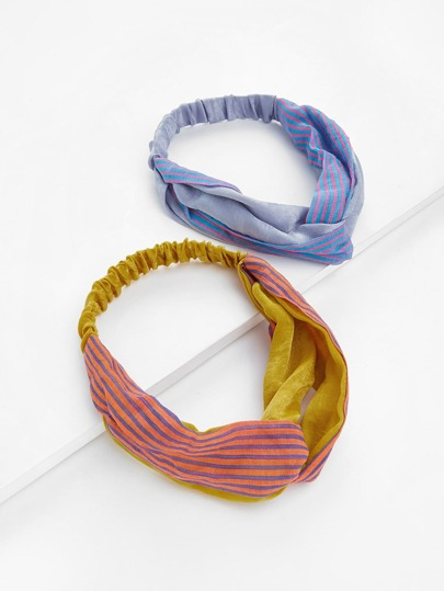 Striped Twisted Headband 2pcs