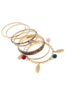 Charm Detail Beaded Bangle 7pcs