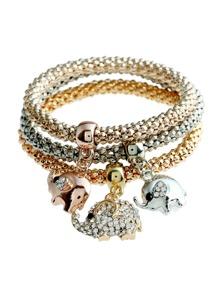 Elephant Charm Bracelet 3pcs