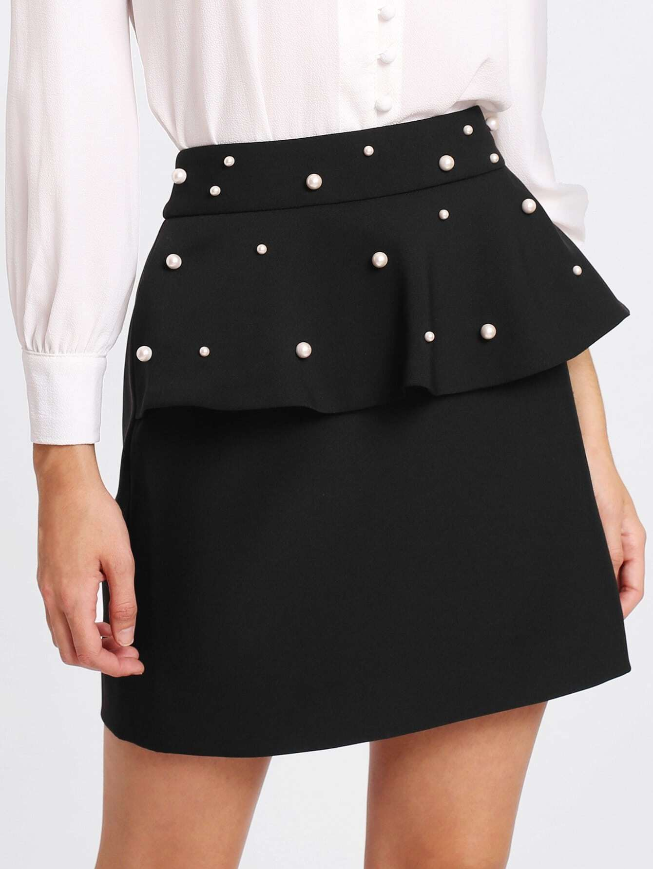 Pearl Beaded Flounce Skirt lisa corti короткое платье